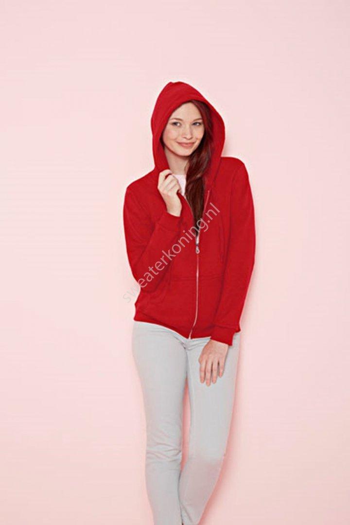 Damesmodel Hoodedsweater met rits (GIL18600FL) - gildan 18600fl