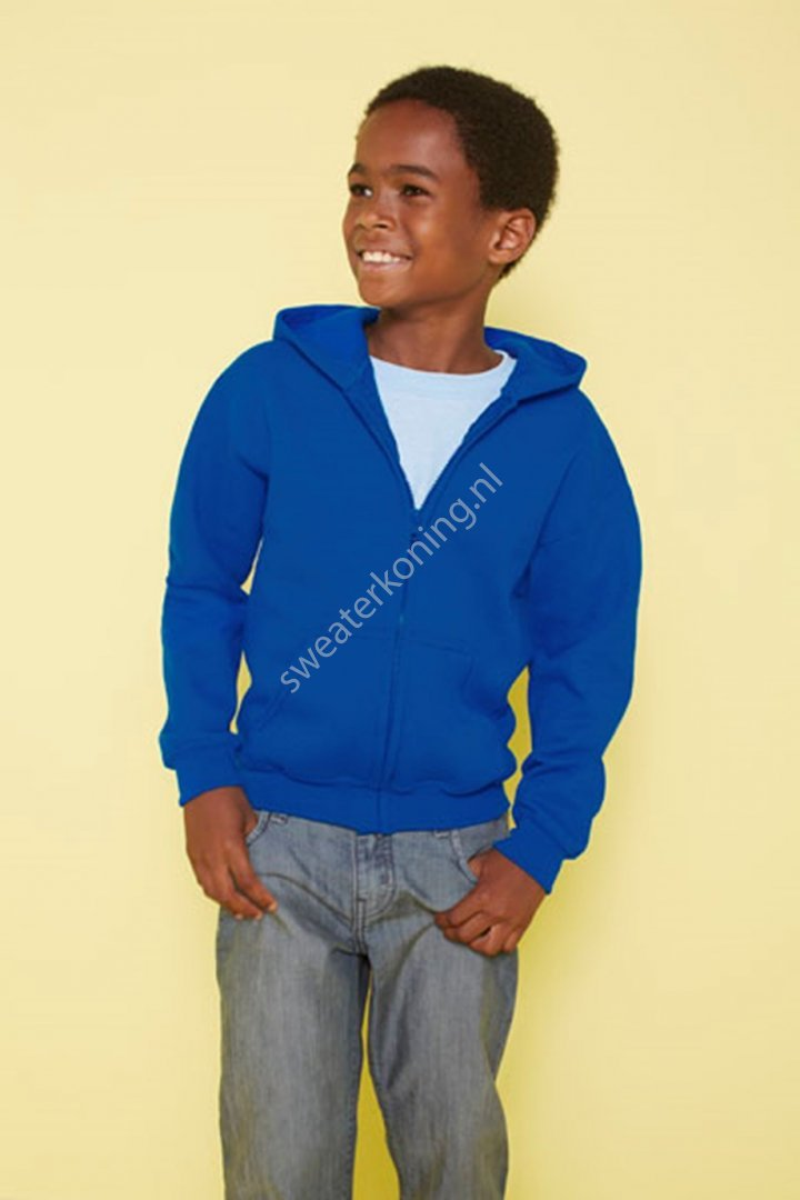 Kindermodel Hoodedsweater met rits (GIL18600B) - gildan 18600b